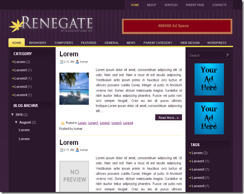 Renegate Blogger Template