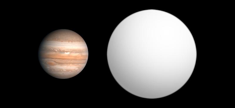 Resultado de imagen para Comparación de tamaño entre Júpiter, izquierda, y WASP-12b, derecha