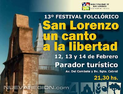 """Afiche del 13 Festival folklorico """"San Lorenzo un canto a la libertad"""""""