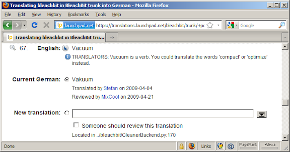 Launchpad showing translation tip for the word 'vacuum'