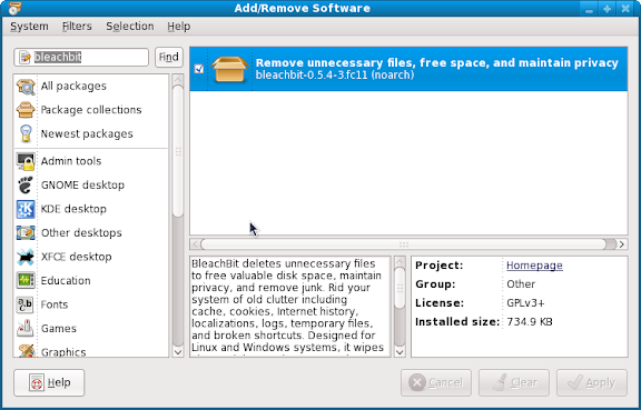 Installing BleachBit on Fedora 11 using the GUI