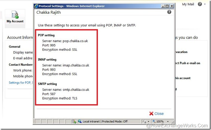 Published POP IMAP Settings