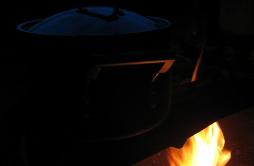 Chili cooking on the campfire