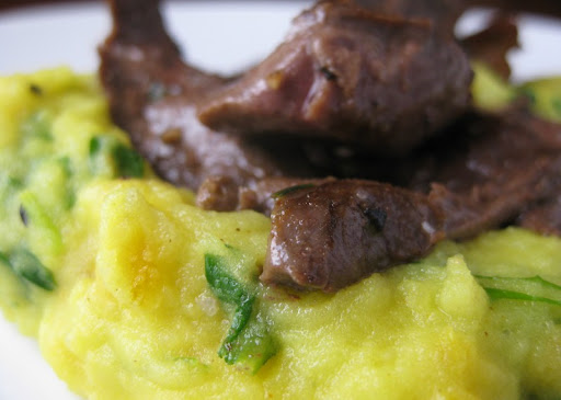 Lamb's Heart with Turmeric and Arugula Potato Puree
