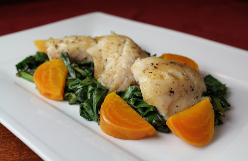 Sculpin with Golden Beets and Beet Greens