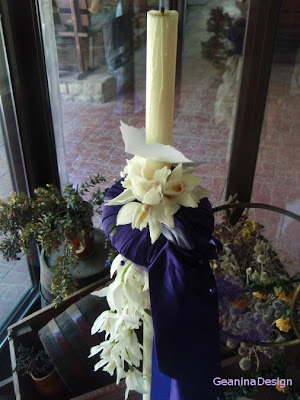 Lumanare cu satin mov pentru nunta cu tema orhideelor