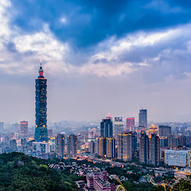 Sunset over Taipei Skyline by Dan Bingham - City,  Street & Park  Skylines ( skyline, mountain, sunset, elephant, taipei, 101,  )