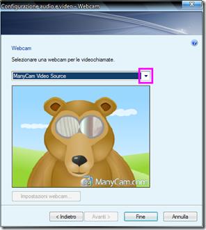 Usare ManyCam su Messenger, Skype e simili