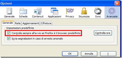Mettere Firefox come browser predefinito