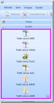 FormatFactory - Seleziona formato audio