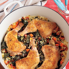 One-Pot Chicken and Rice with Swiss Chard