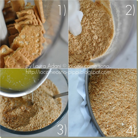 Collage base di biscotti per cheese cake
