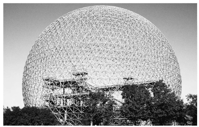 A geodesic dome in Montreal, Quebec, Canada. Such domes are named after their designer, R. Buck-minster Fuller, and eventually provided the name for the carbon molecules known as buckminster-fullerenes.