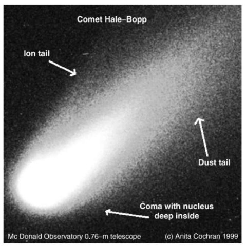 An image of comet Hale-Bopp obtained by the 0.76-m telescope of McDonald Observatory. The image is approximately 40 arcmin on a side. The parts of the comet are labeled on the picture. This is an image obtained by a CCD camera.