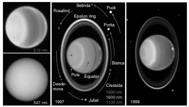 (Left) [STScI PRC97-36b, NASA and H. Hammel]. HST WFPC2 images of Uranus on 31 July and 1 August 1997. Although little contrast is seen at 547 nm (blue), a banded structure and the first discrete Northern Hemisphere cloud are visible at 619 nm (upper image, colored red). (Middle) [Space Telescope Science Institute STSCI-PRC97-36A and E. Karkoschka]. This false-color 1997 image is a composite of near-IR images taken by the Near Infrared Camera and Multi-Object Spectrometer (NICMOS) at wavelengths of 1.1 mm (shown as blue), 1.6 mm (shown as green), and 1.9 mm (shown as red). Absorption by methane gas limits the depth at which reflected sunlight can still be seen at 1.1 and 1.6 mm, and absorption by hydrogen is most significant at 1.9 mm. The blue exposure probes atmospheric levels down to a few bars, responding to scattering by aerosols and by atmospheric molecules above this level. The green component is least sensitive to methane absorption, sensing down to 10 bars or more, but sees much less Raleigh scattering per bar than the blue component, so that a dark absorbing cloud near 3 bars would result in more blue than green in regions that were clear above the cloud, perhaps accounting for the blue color at midlatitudes. The red component can only sense down to about the 2-bar level, and sees the least contribution from Rayleigh scattering, so that very little red is seen in regions that are clear to 3 bars. The green color around the South Pole suggests significant local haze opacity at pressures near 2-3 bars. The red color of the discrete features near the northern (right) limb indicate relatively high-altitude clouds that reflect sunlight before much absorption has taken place. The curved arcs in the central image indicate motions in 90 minutes of cloud features and eight of the 10 small satellites discovered by Voyager 2. The area outside the rings was enhanced to make the satellites more visible. The images also show the bright epsilon ring, which is wider and b