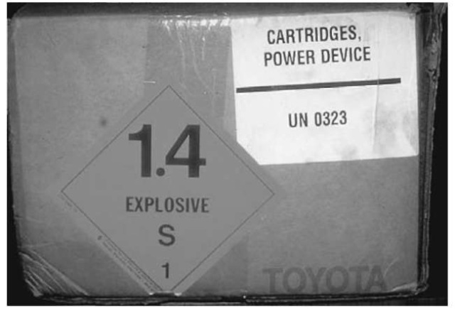 The air bag is transported as an explosive material. Sodium azide is the explosive propellant used in the majority of air bag modules.