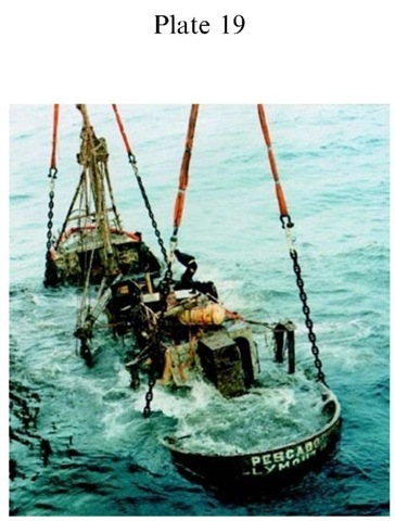Plate 19 ENGINEERING The fishing vessel Pescado was recovered from the sea off the south west coast of England to assist the Marine Accident Investigation Branch enquiry into the loss of the vessel and crew. Marine Accident Report 1/98 (1998), London DETR.