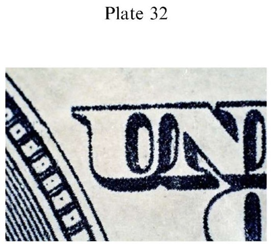 Plate 32 FORGERY AND FRAUD/Counterfeit Currency Counterfeit US $100 FRN: toner full color copier/printer.