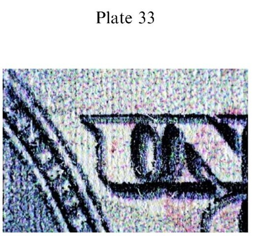 Plate 33 FORGERY AND FRAUD/Counterfeit Currency Counterfeit US $100 FRN: inkjet full color copier/printer.