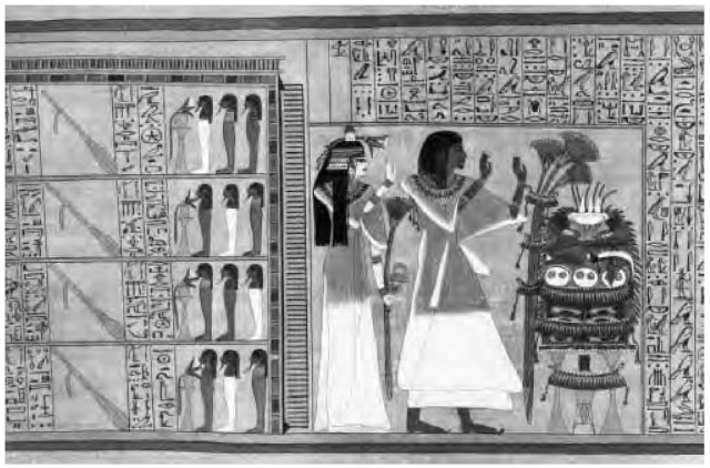 A papyrus tomb text depicting a deceased couple, Ani and his wife, worshiping Osiris, in a copy of the topic of the Dead.
