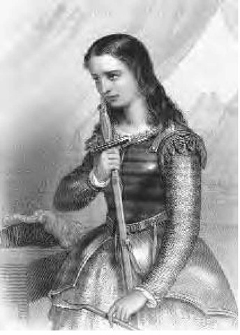 Engraving of the French national heroine Joan of Arc holding a sword.