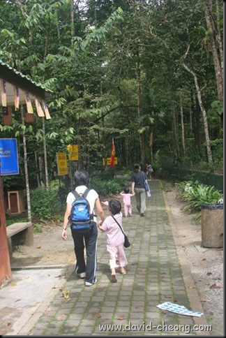 a family walking into the sungai Tekala water fall