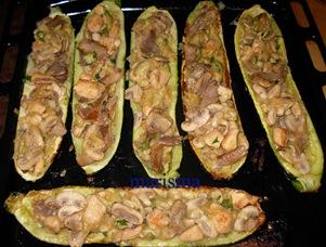 calabacines rellenos de champis