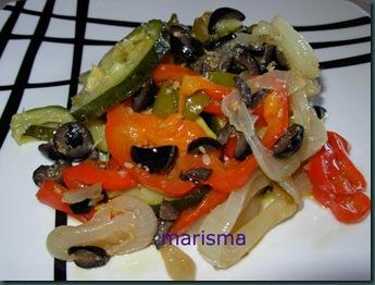 verduras asadas con vinagreta de aceitunas negras,racion