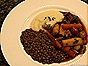Braised Root Vegetables with Turnip Puree, Lentils & Red Wine Sauce