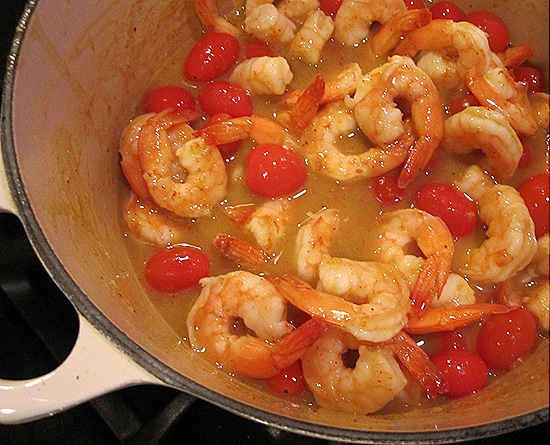 Shrimp & Cherry Tomatoes in Yellow Curry Sauce