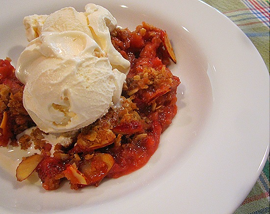 Strawberry-Rhubarb Crisp with Vanilla Ice Cream