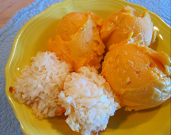 Mango Sorbet with Coconut Macaroons