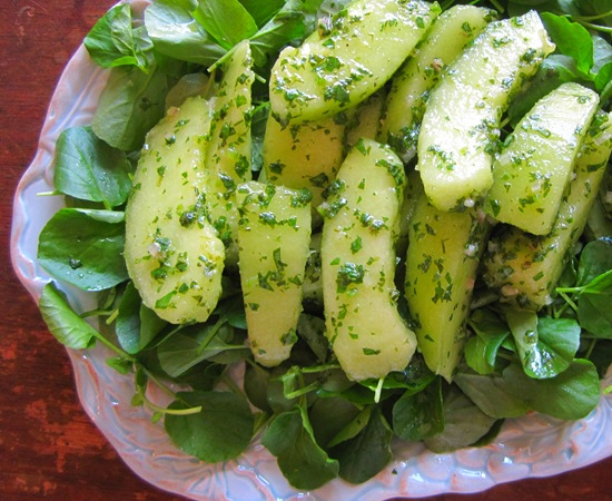 Honeydew Salad with Herbs & Watercress