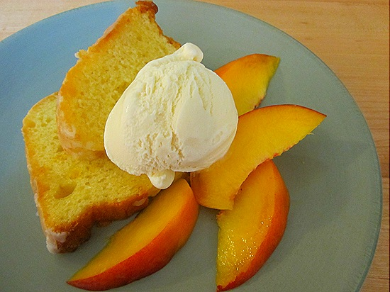 Lemon Cake with Peaches & Vanilla Ice Cream