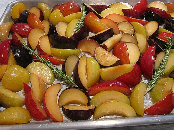 Sliced Plums with Honey & Rosemary