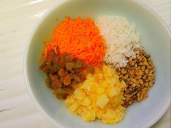Coconut, Walnuts, Pineapple, Raisins & Carrots