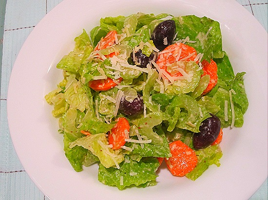 Romaine Salad with Carrots, Celery, Kalamatas & Parmesan Vinaigrette