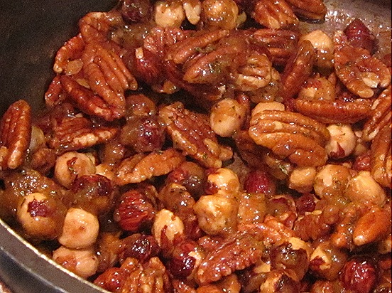 Pecans and hazelnuts, coated in rosemary-sugar-butter sauce