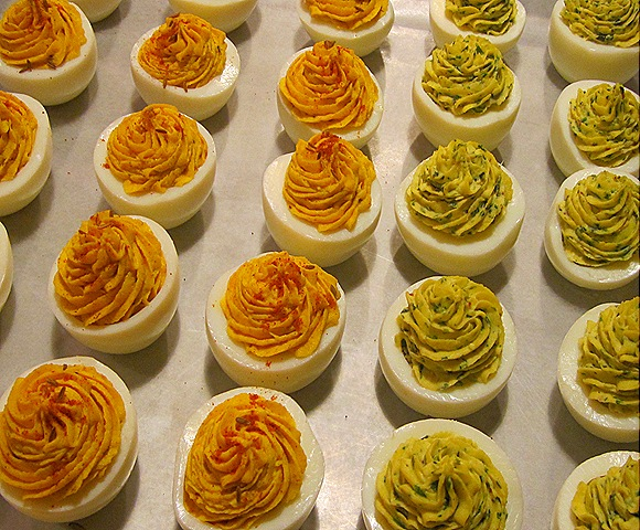 Deviled Eggs 2 Ways - with Cumin & Cury, with Fines Herbs