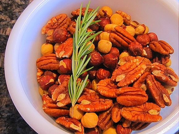 Pecans & hazelnuts, with a sprig of rosemary
