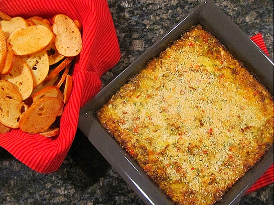 Hot Crab & Artichoke Dip with French Bread Crostini