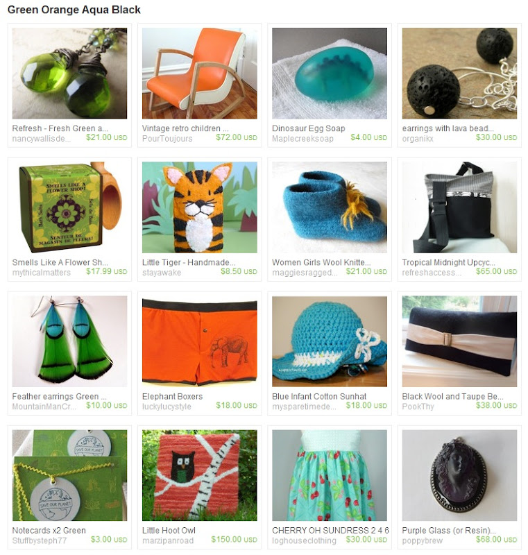 Green Orange Aqua Black Striped Treasury