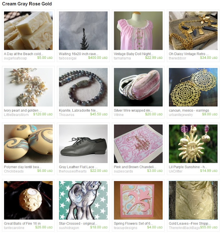 Cream Gray Rose Gold Striped Treasury
