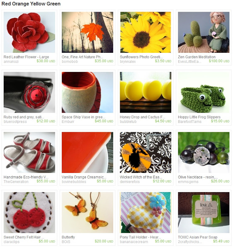 Red Orange Yellow Green Striped Treasury
