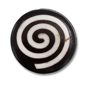 Cocoa White Swirl Bone Coin Beads from Aunties Beads