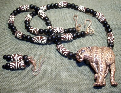 Leopard and Trade Bead Jewelry Set by SarasinArt