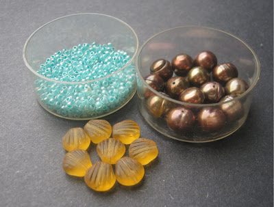 Brown, Blue and Yellow Bead Palette