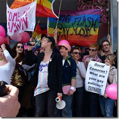 Campaigners gather for 'David Cameron's coming out party'