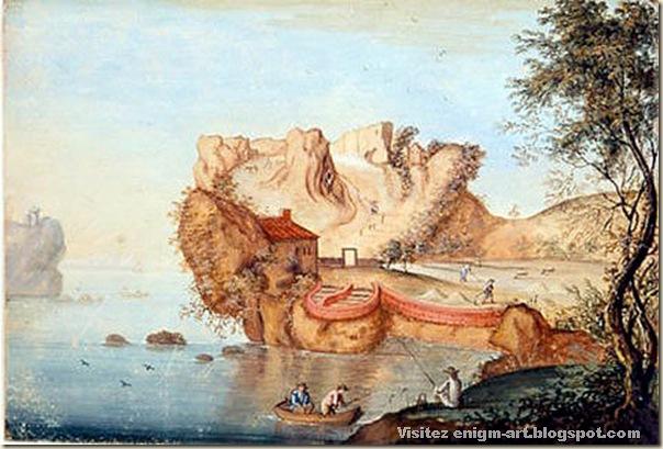 Matthäus Merian , paysage anthropomorphe, Aquarelle aux alentours de 1650