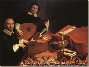 Autoritratto di Evaristo Baschenis (a sin.) con Alessandro Agliardi